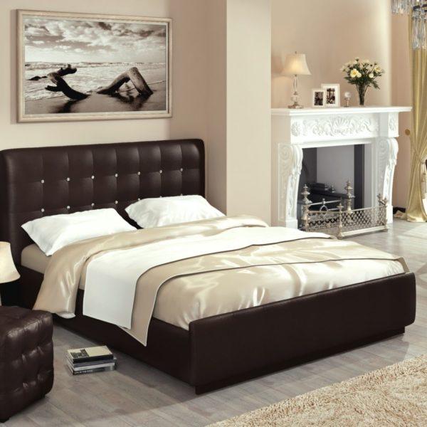 Кровать из экокожи Лорена (Перламутровая кожа Best)
