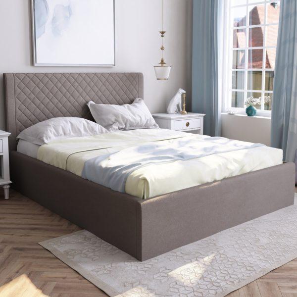 Мягкая кровать Милана (Велюр,Bruno 08)
