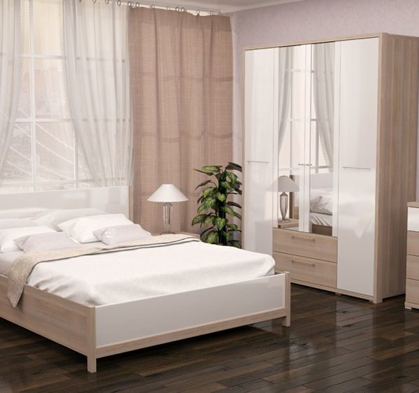 Спальня Вива (Невис / Белый глянец)