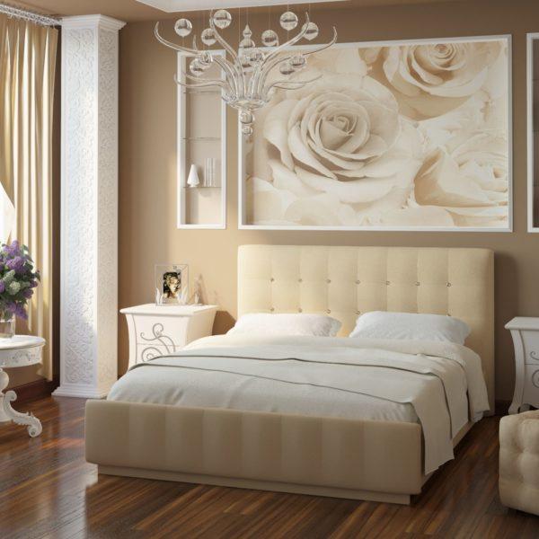 Кровать из экокожи Лорена (Беж)