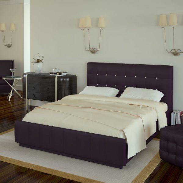 Кровать из экокожи Лорена (Boom Viola)